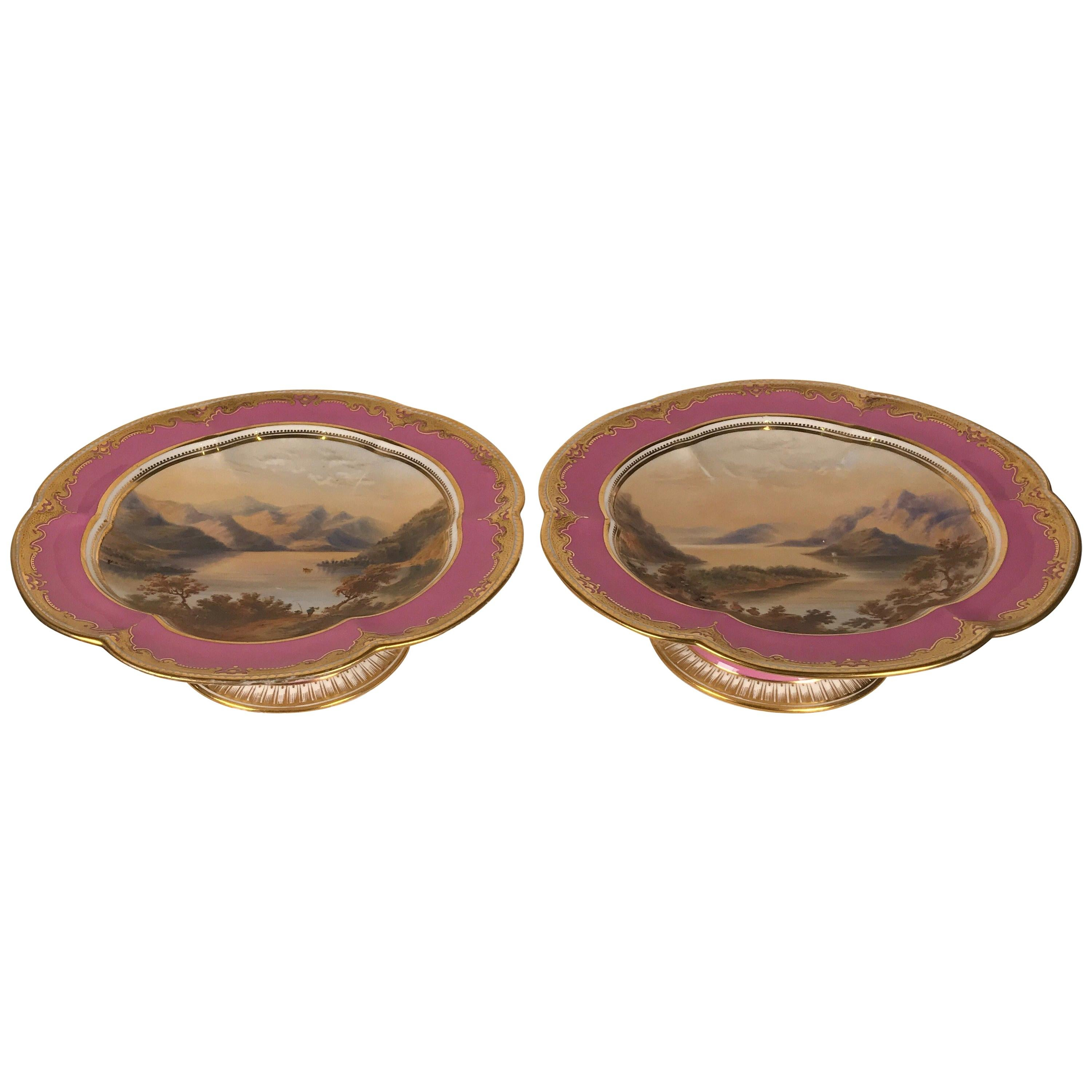Pair of 19th Century Antique English Hand Painted Porcelain Compotes
