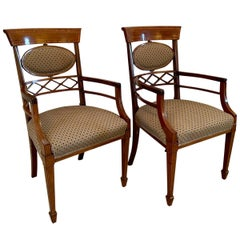 Pair of 19th Century Antique Victorian Mahogany Inlaid Desk Chairs