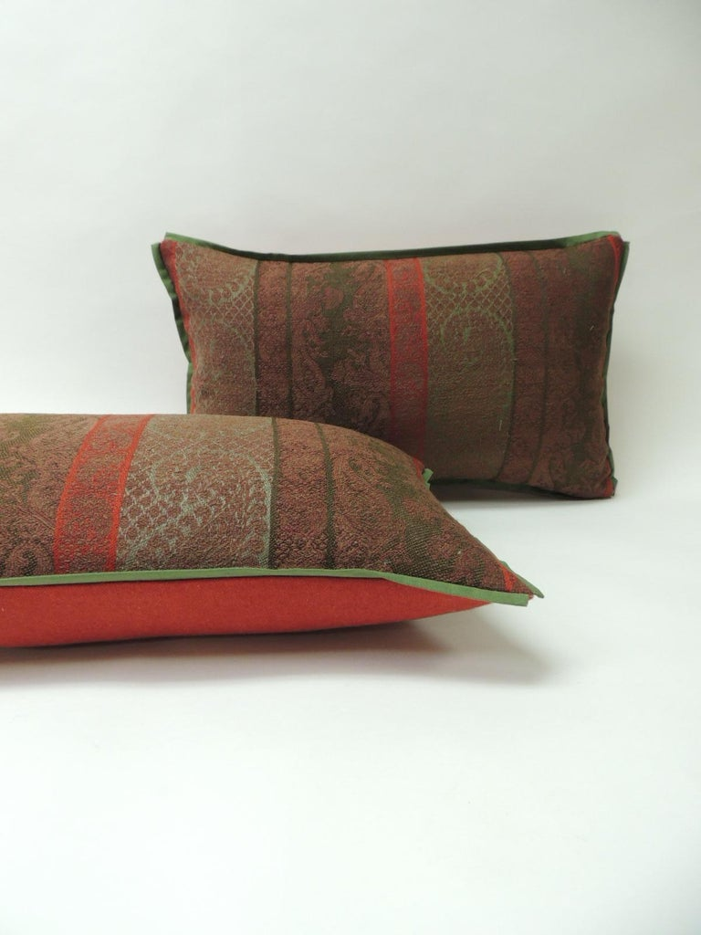 Indian Pair of 19th Century Antique Woven Kashmir Paisley Decorative Lumbar Pillows For Sale