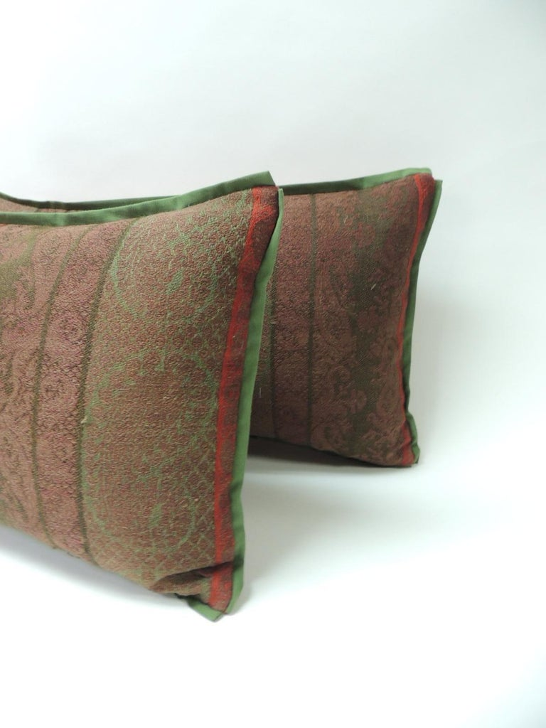 Hand-Crafted Pair of 19th Century Antique Woven Kashmir Paisley Decorative Lumbar Pillows For Sale