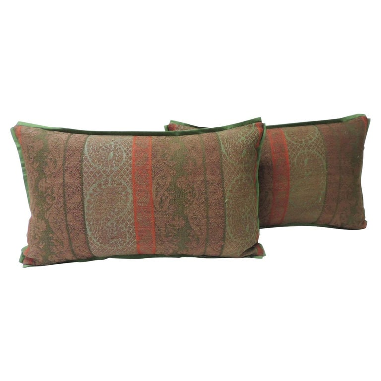 Pair of 19th Century Antique Woven Kashmir Paisley Decorative Lumbar Pillows For Sale