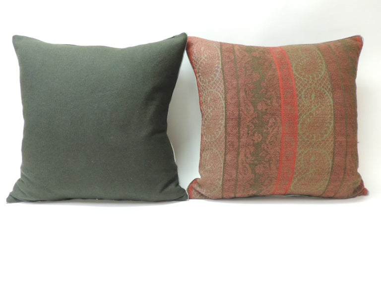 Hand-Crafted Pair of 19th Century Antique Woven Red Kashmir Paisley Square Decorative Pillows For Sale