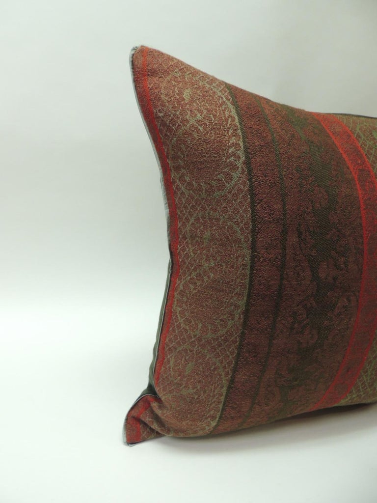 Wool Pair of 19th Century Antique Woven Red Kashmir Paisley Square Decorative Pillows For Sale