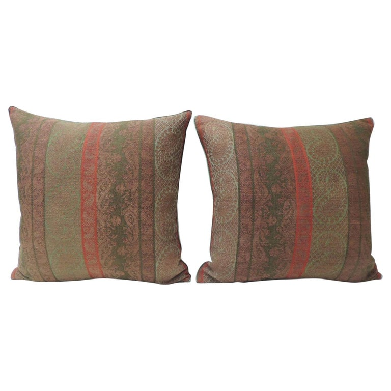 Pair of 19th Century Antique Woven Red Kashmir Paisley Square Decorative Pillows For Sale