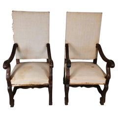 Pair of 19th Century Armchairs in Solid Wood