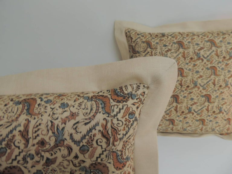 English Pair of 19th Century Arts & Crafts Square Decorative Pillows For Sale