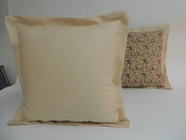 Hand-Crafted Pair of 19th Century Arts & Crafts Square Decorative Pillows For Sale