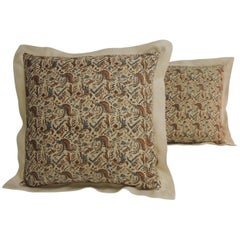 Pair of 19th Century Arts & Crafts Square Decorative Pillows