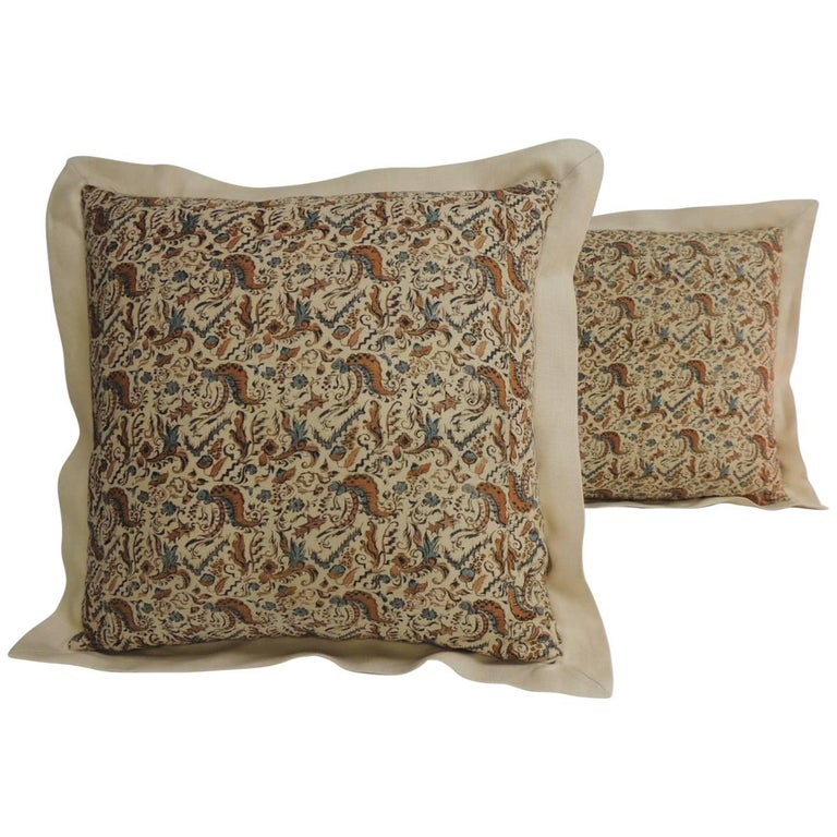 Pair of 19th Century Arts & Crafts Square Decorative Pillows For Sale
