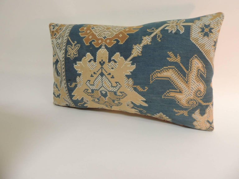 Arts and Crafts Pair of 19th Century Arts & Crafts Tan and Blue Decorative Lumbar Pillows For Sale