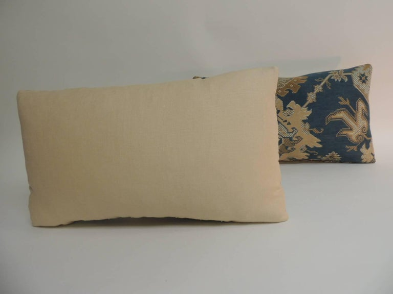 Hand-Crafted Pair of 19th Century Arts & Crafts Tan and Blue Decorative Lumbar Pillows For Sale