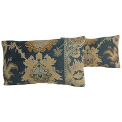 Pair of 19th Century Arts & Crafts Tan and Blue Decorative Lumbar Pillows