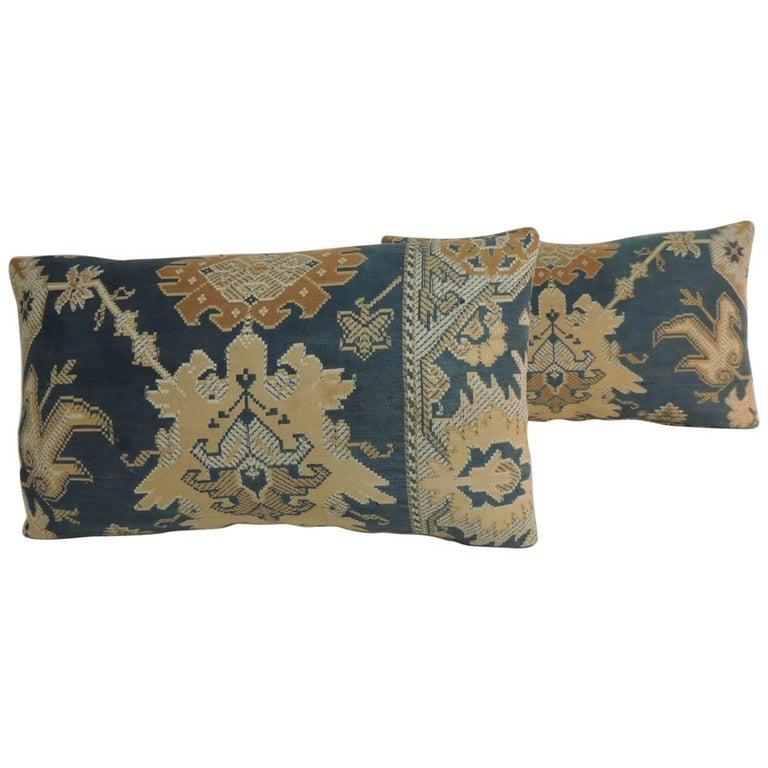 Pair of 19th Century Arts & Crafts Tan and Blue Decorative Lumbar Pillows For Sale