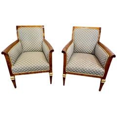 Pair of 19th Century Austrian Biedermeier Mahogany Armchairs