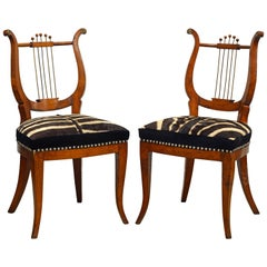 Pair of 19th Century Austrian Neoclassical Zebra Covered Lyre Back Salon Chairs