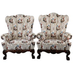 Pair of 19th Century Austro Hungarian Wingback Armchairs Reupholstered