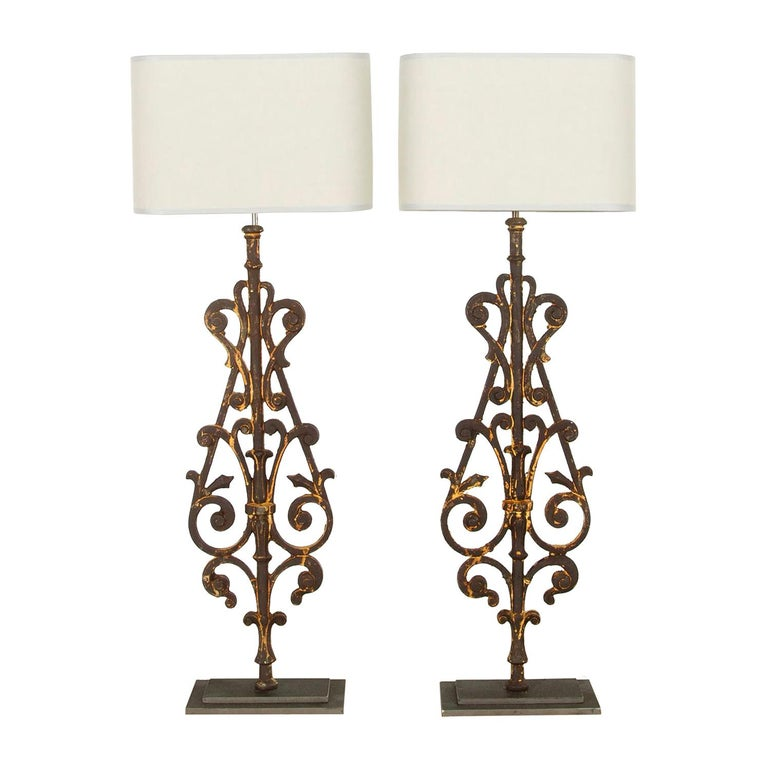 Pair of 19th Century Balustrade Lamps For Sale