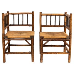 Pair of 19th Century Bamboo and Rush Corner Chairs