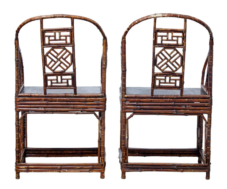 Pair of Chinese export canework chairs, circa 1890.  Good elegant examples of this Chinese craft.  Made from thin cane which has been multi layered for reinforcement. Shaped back with further canework detailing in the backrest. Plain flat seat