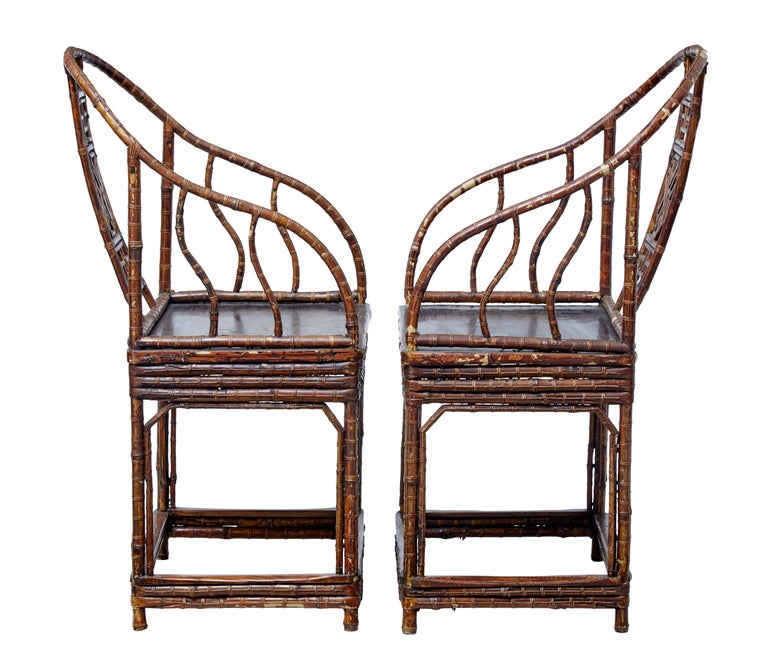 Qing Pair of 19th Century Bamboo Cane Work Chinese Chairs For Sale