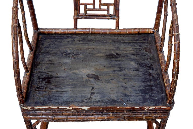 Caning Pair of 19th Century Bamboo Cane Work Chinese Chairs For Sale