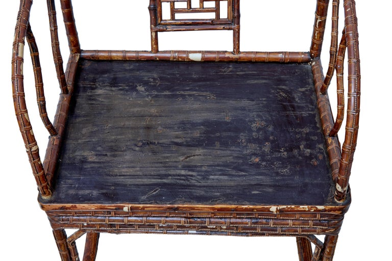 Pair of 19th Century Bamboo Cane Work Chinese Chairs In Good Condition For Sale In Debenham, Suffolk