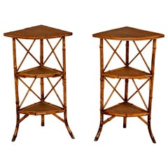 Pair of 19th Century Bamboo Corner Shelves