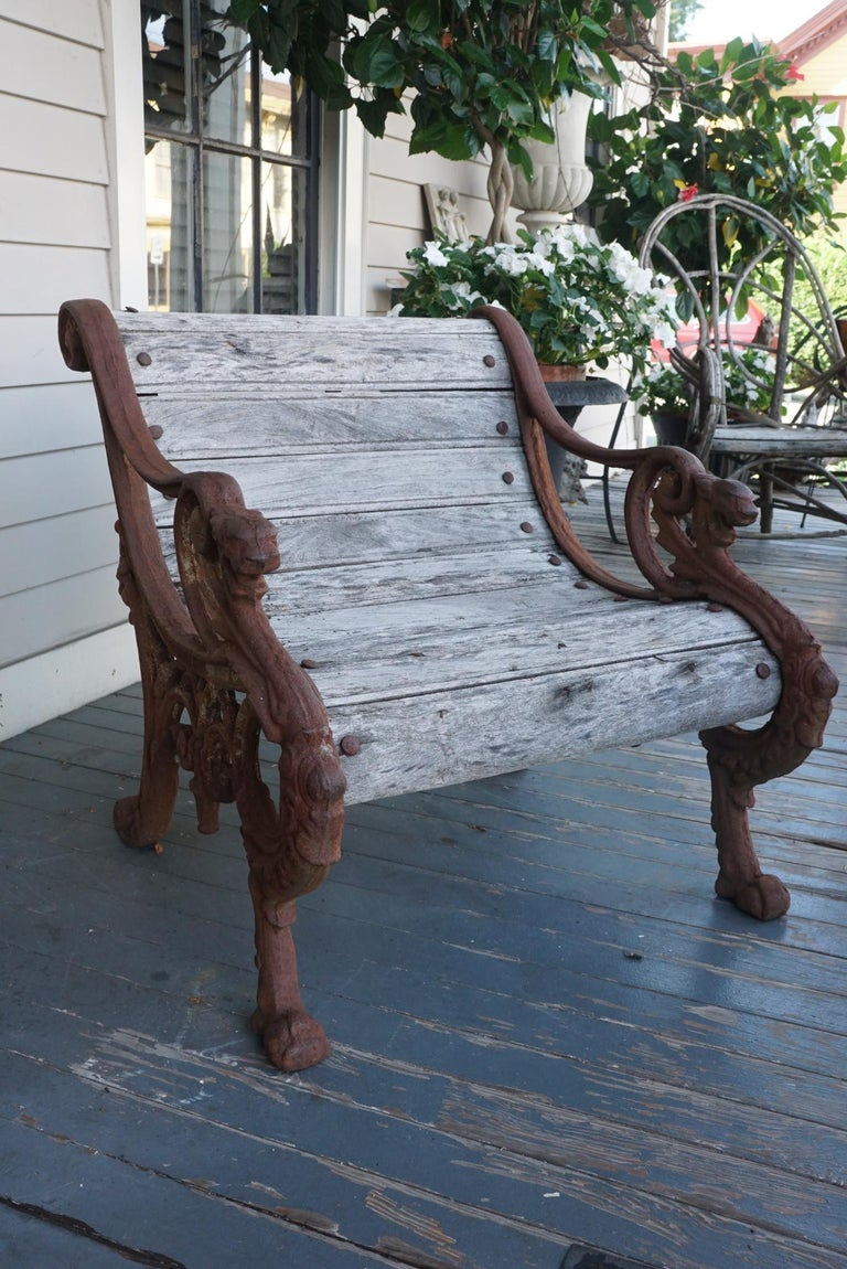 French Pair of 19th Century Barbezat & Cie Cast Iron & Teak Garden Chairs For Sale