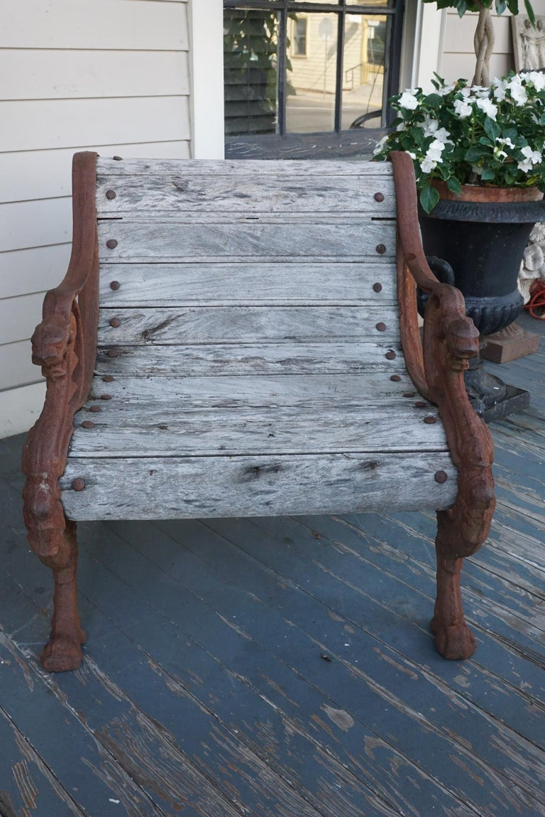 Pair of 19th Century Barbezat & Cie Cast Iron & Teak Garden Chairs In Good Condition For Sale In Hudson, NY