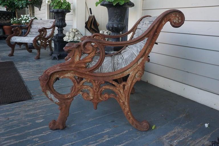 Pair of 19th Century Barbezat & Cie Cast Iron & Teak Garden Chairs For Sale 1