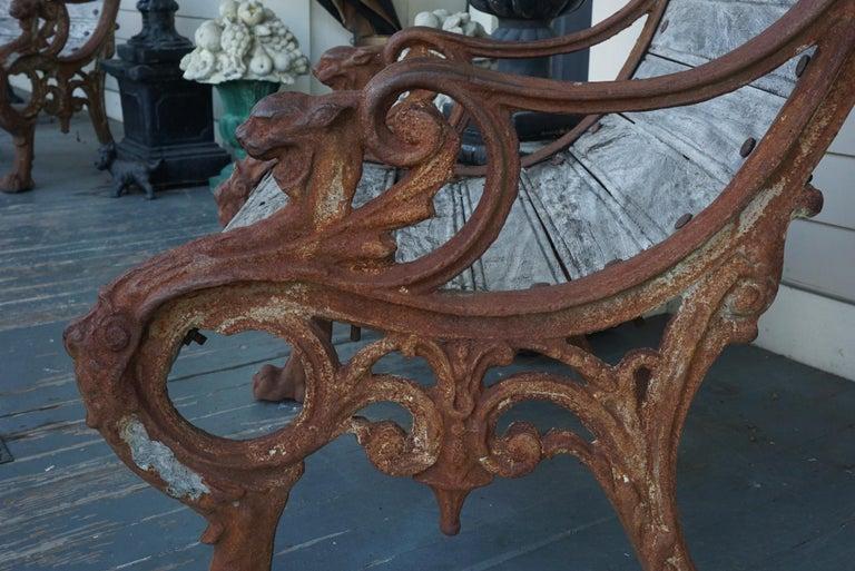 Pair of 19th Century Barbezat & Cie Cast Iron & Teak Garden Chairs For Sale 3