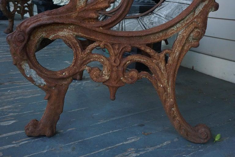 Pair of 19th Century Barbezat & Cie Cast Iron & Teak Garden Chairs For Sale 4