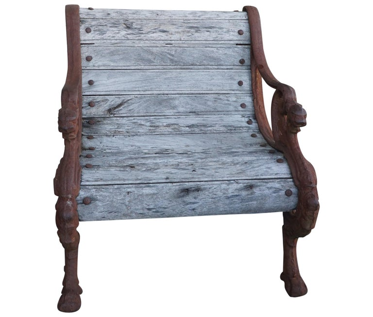 Pair of 19th Century Barbezat & Cie Cast Iron & Teak Garden Chairs For Sale