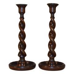 Pair of 19th Century Barley Twist Candlesticks