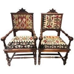 Pair of 19th Century Belgian Oak Armchairs with Crown Crests from a Cloister