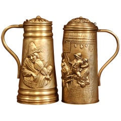Pair of 19th Century Belgium Brass Beer Pitchers with Lid and Repousse Decor