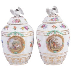 Pair of 19th Century Berlin Porcelain Lidded Vases