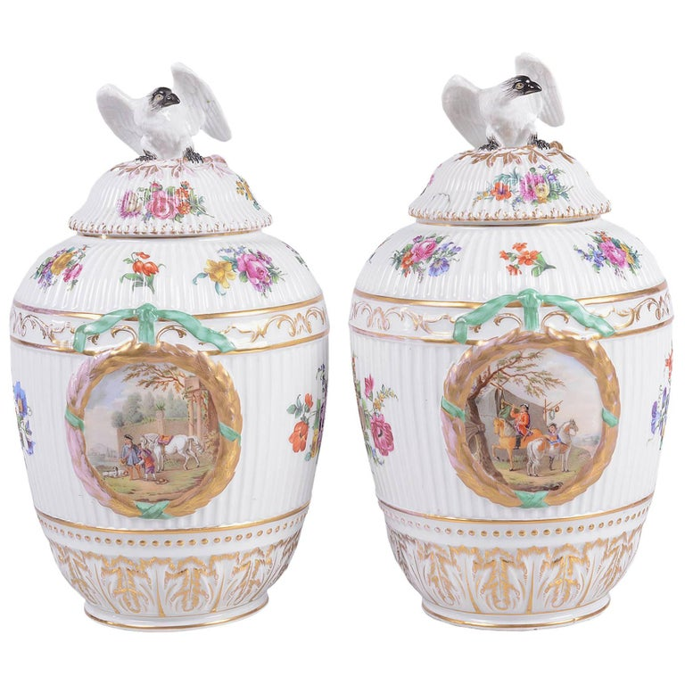 Pair of 19th Century Berlin Porcelain Lidded Vases For Sale