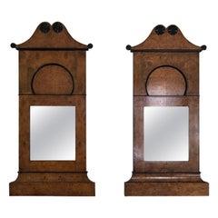 Pair of 19th Century Biedermeier Burlwood Pier Mirrors