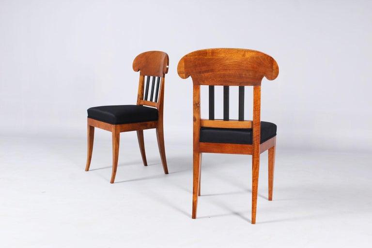 Pair of 19th Century Biedermeier Chairs, Southern Germany, Walnut, circa 1830 3