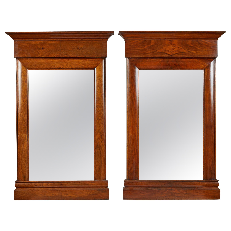 Pair of 19th Century Biedermeier Mahogany Wall Mirrors