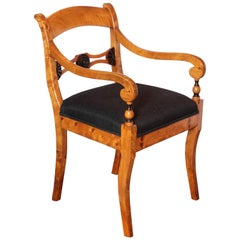 Pair of 19th Century Biedermeier Satinwood Birch and Ebonized Open Armchairs