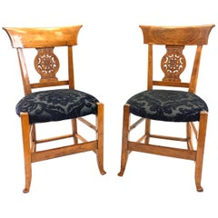 Pair of 19th Century Biedermeier Walnut Chairs