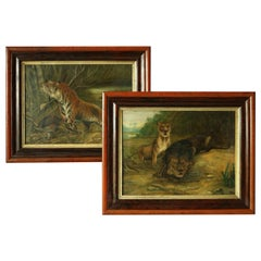 Pair of 19th Century Big Game Paintings