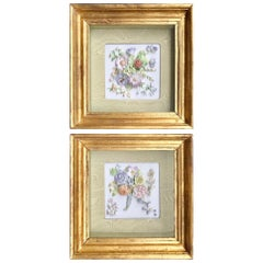 Pair of 19th Century Bisque German Porcelain Floral Plaques in Shadow Boxes