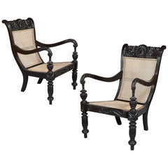 Pair of 19th Century Black Ebony Ceylonese Library Chairs