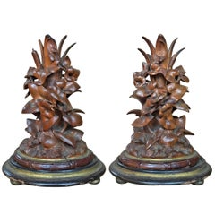 Pair of 19th Century Black Forest Candlesticks