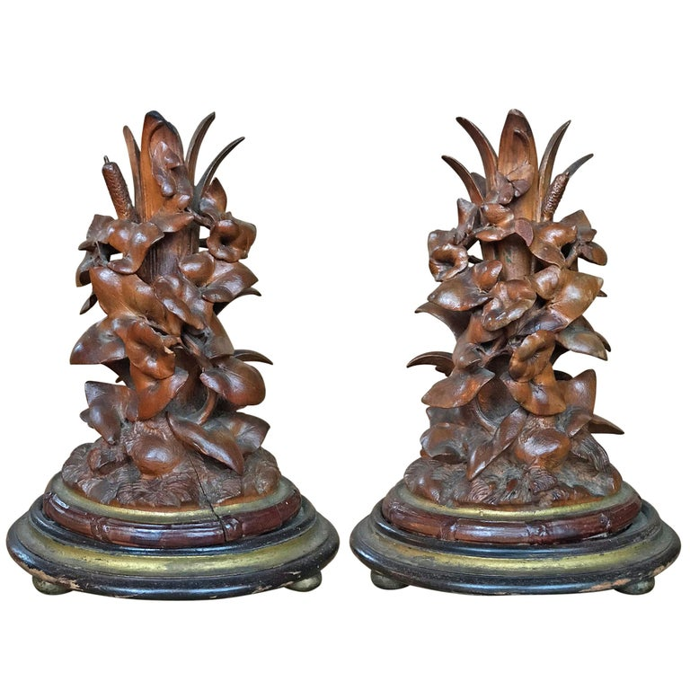 Pair of 19th Century Black Forest Candlesticks For Sale