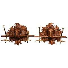 Pair of 19th Century Black Forest Carved Walnut Dog Sculptures Wall Coat Racks