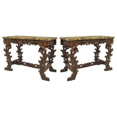 Pair of Rustic Black Forest Walnut Floral Console Tables